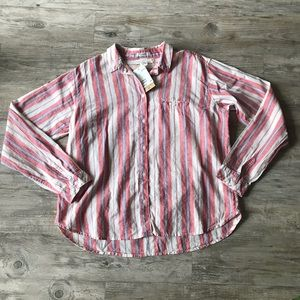H&M | NEW STRIPED LINEN BUTTON DOWN PINK WHITE